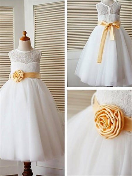 A-line/Princess Tea-Length Scoop Lace Sleeveless Tulle Flower Girl Dresses